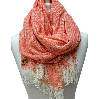 Australian Made Gifts & Souvenirs with the Melon Merino Loose Weave Scarf -by The Spotted Quoll. For the best Australian online shopping for a
