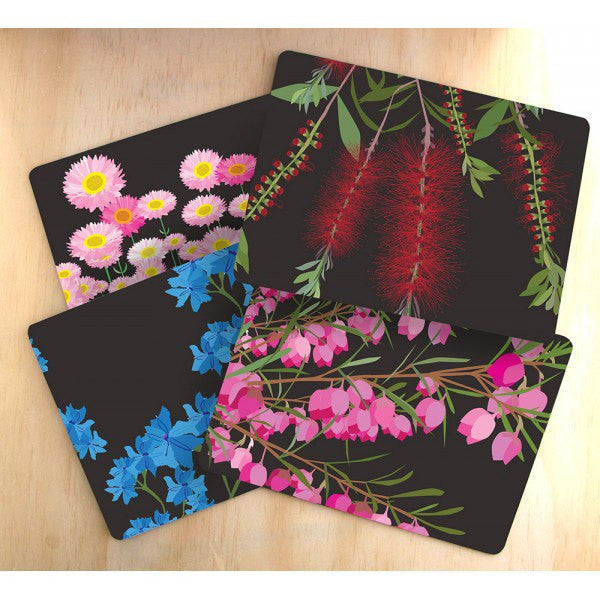 Australian Made Gifts & Souvenirs with the Midnight Bloom Placemats -by Mokoh Design. For the best Australian online shopping for a Accessories