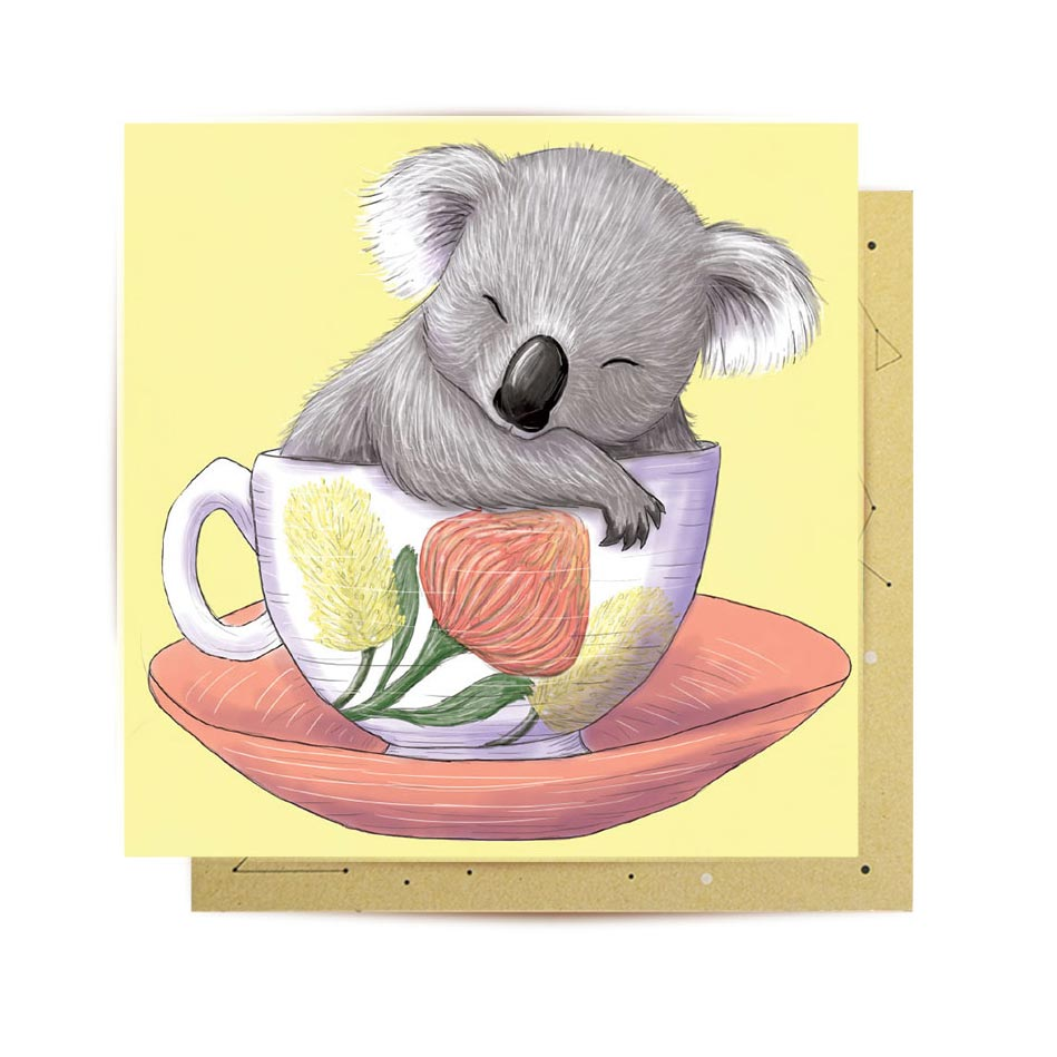 Baby Koala Teacup Mini Card