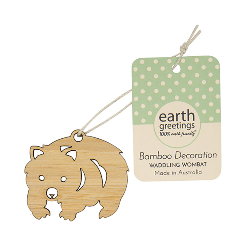 Mini Wombat Bamboo Australiana Christmas Decoration
