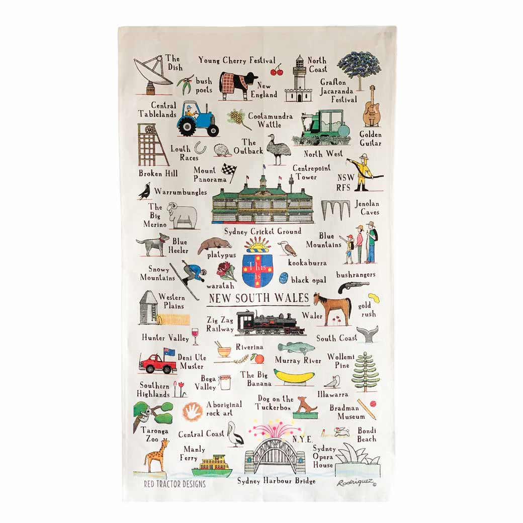 Australian Souvenir Linen Tea Towel New South Wales Icons,