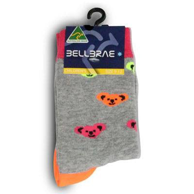 Australian Made Gifts & Souvenirs with the Kids Neon Koala Socks -by Bellbrae. For the best Australian online shopping for a Socks - 2