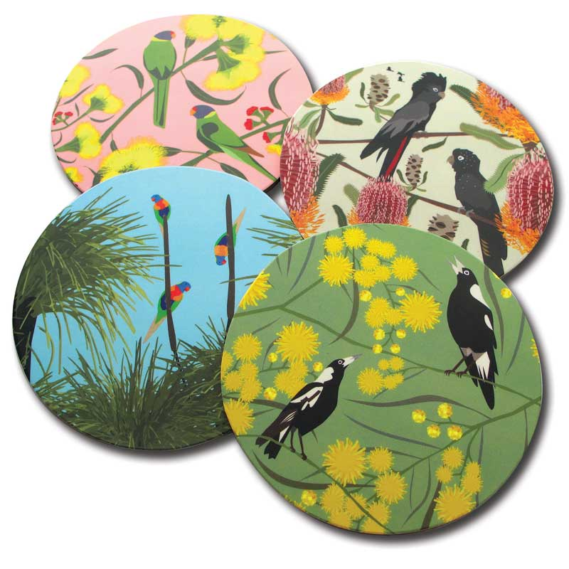 Australian Souvenir Coaster Pack with Native Birds