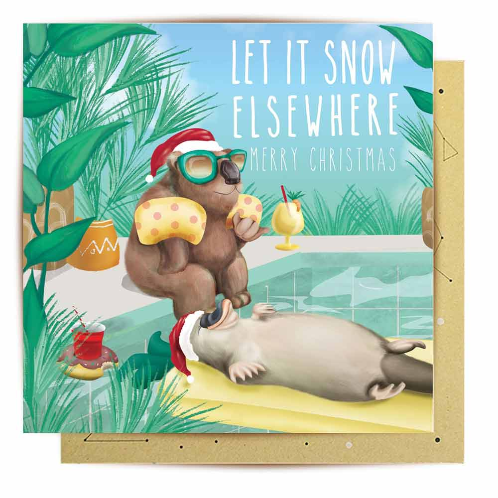 Novelty Australiana Christmas Card To Send Overseas