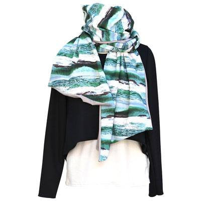 Australian Made Gifts & Souvenirs with the Ocean Printed Bamboo Scarf -by The Spotted Quoll. For the best Australian online shopping for a Scarves - 1