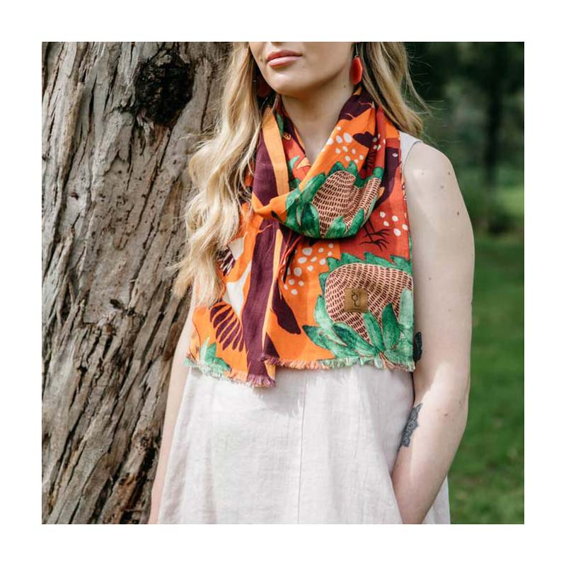 Orange Australian Made Spotted Quoll Magpie Organic cotton scarf
