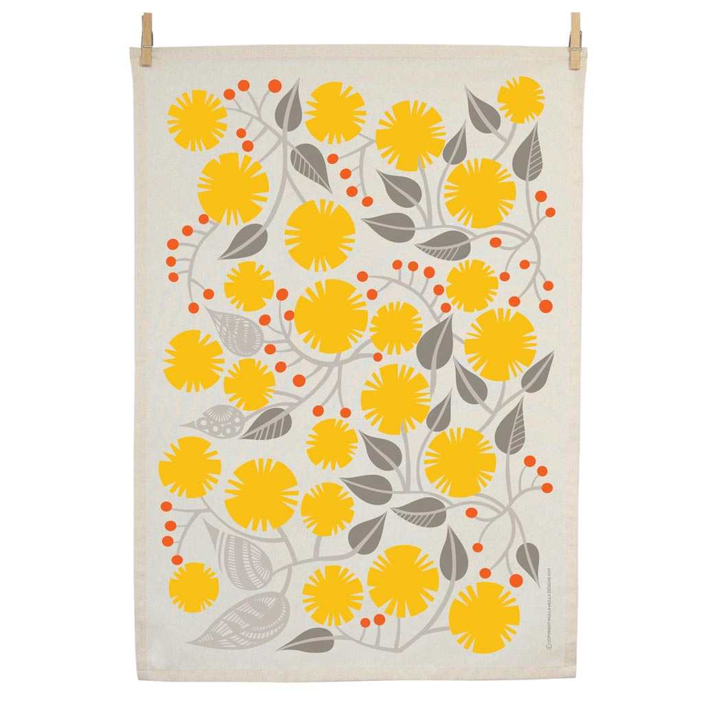 Organic cotton tea towel screen printed in Australia - ethical gifts online