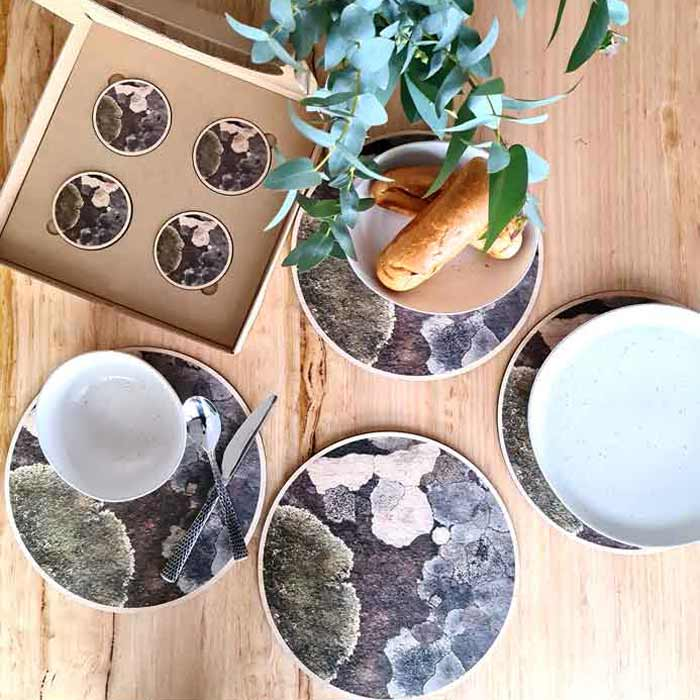 Organic Lichen placemats and coasters Australian homewares