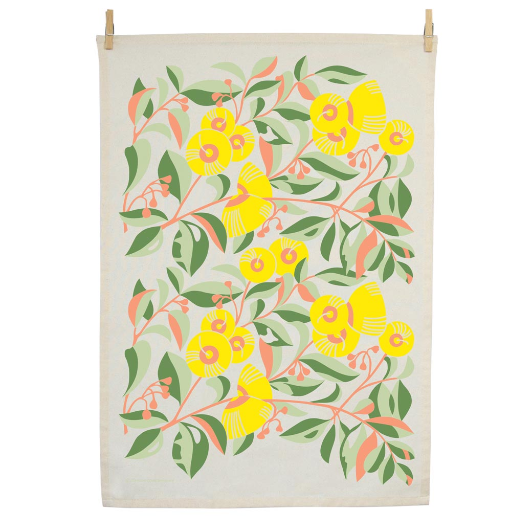 Organic cotton tea towel screen printed in Australia