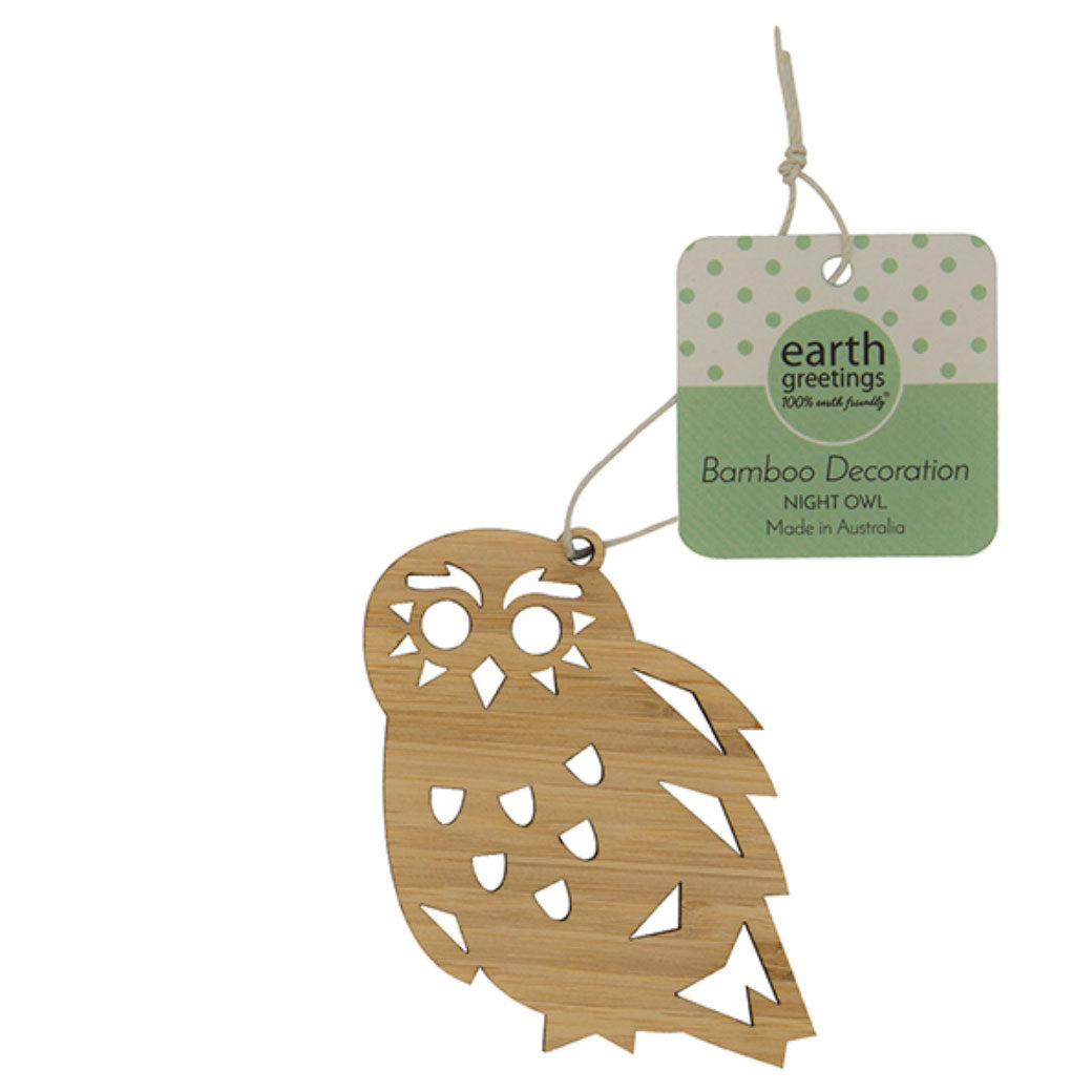 Owl decorations Australia - Earth Greetings Bamboo Wooden Ornaments