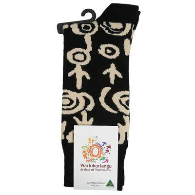 Black & Beige Aboriginal Artwork Socks