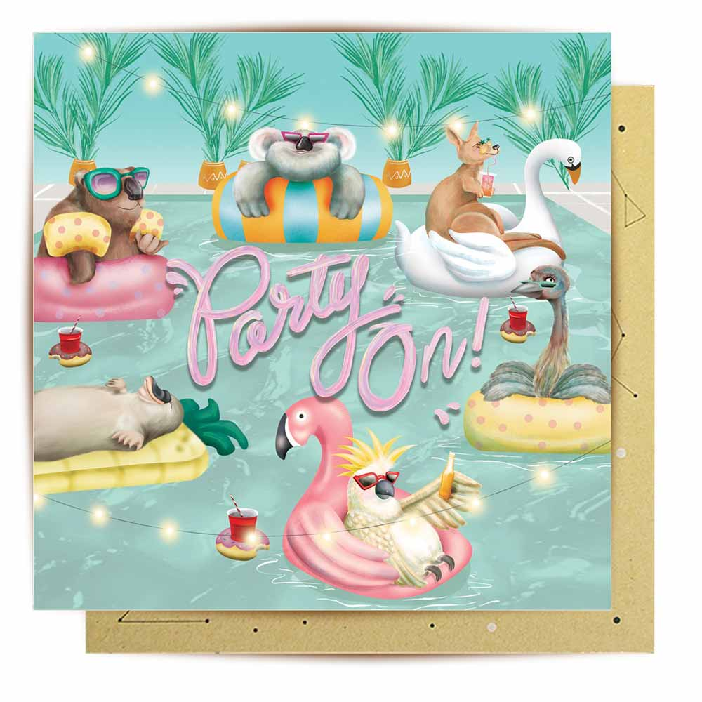 Party On Australiana Illustrated Greeting Card by La La Land BitsofAustralia