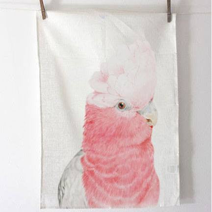 Australian Made Gifts & Souvenirs with the Pink Galah Tea Towel -by For Me By Dee. For the best Australian online shopping for a Tea Towels