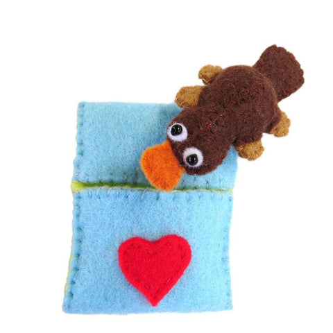 Australian Made Gifts & Souvenirs with the Platypus in a Pocket Bed -by Razzle Dazzle. For the best Australian online shopping for a Fun - 1