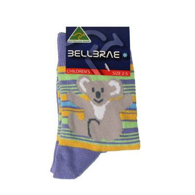 Australian Made Gifts & Souvenirs with the Kids Stripe Koala Socks Lilac -by Bellbrae. For the best Australian online shopping for a Socks - 1