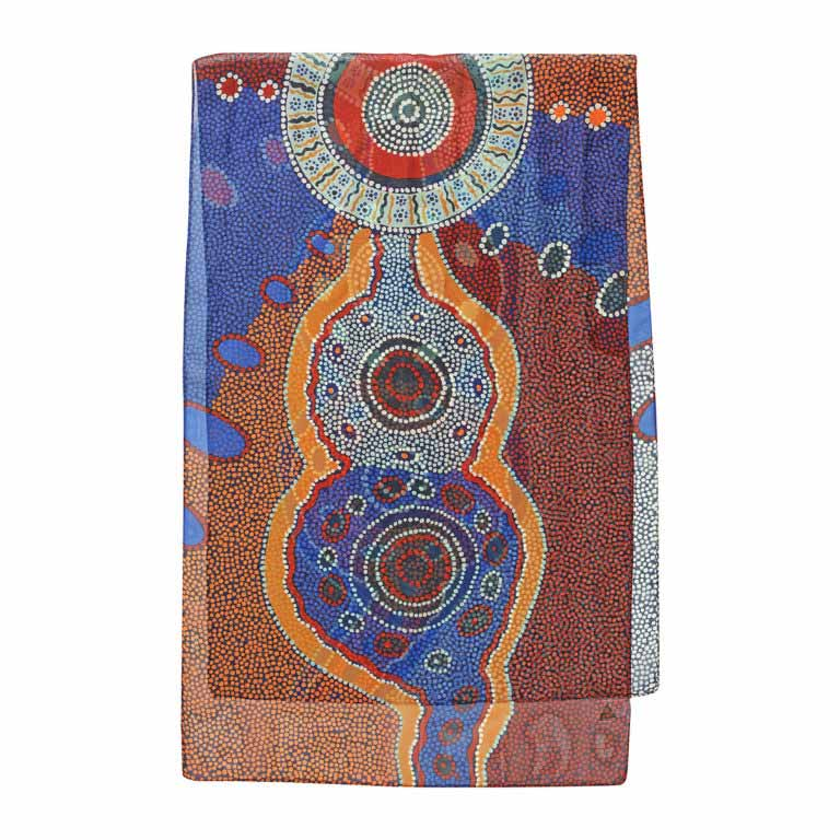 Quality Australian Souvenirs Outstations Chiffon Scarf Aboriginal Designs