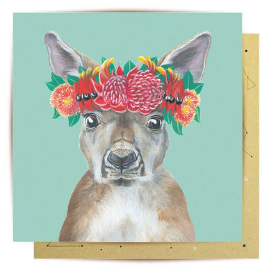Flora Explorer Roo Greeting Card by La La Land