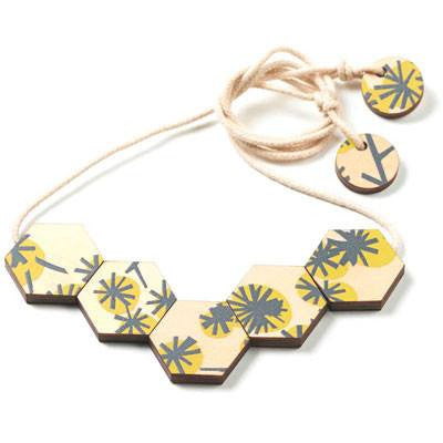 Australian Made Gifts & Souvenirs with the Hexagon Wattle Print Necklace -by Polli. For the best Australian online shopping for a Accessories