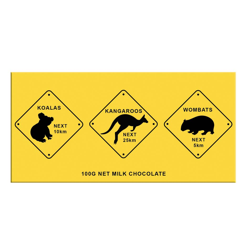Australian Souvenir Chocolate Bar - Animal Roadsigns