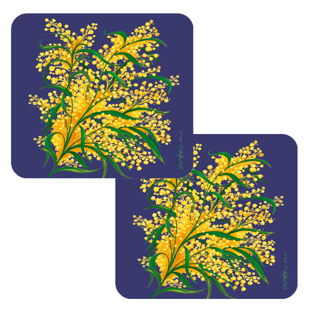 Pack of 2 Coasters - Golden Wattle