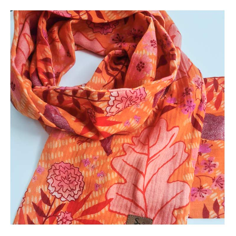Spotted Quoll Organic Cotton Orange Red Scarf