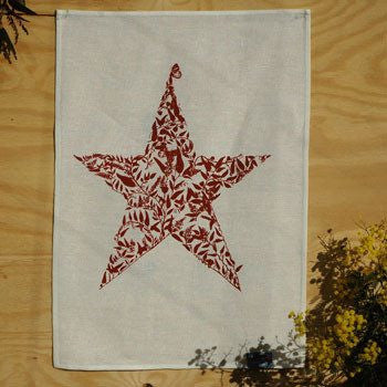 Australian Made Gifts & Souvenirs with the Star of Acacia Flowers Tea Towel -by Laughing Bird. For the best Australian online shopping for a Tea Towels - 1