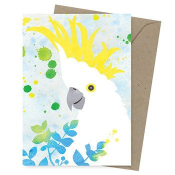 Australian Made Gifts & Souvenirs with the Sulphur Crested Cockatoo Greeting Card -by Earth Greetings. For the best Australian online shopping for a Greeting Cards