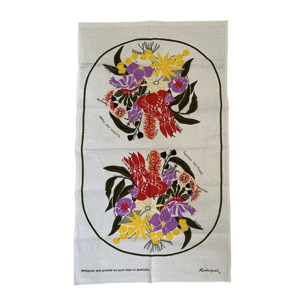Sydney Souvenir Linen Tea Towel Australian Native Flowers