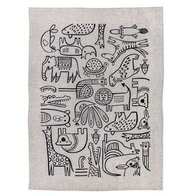 Australian Made Gifts & Souvenirs with the Taronga Animals Tea Towel Natural / Indigo -by Maya Muse. For the best Australian online shopping for a Homewares