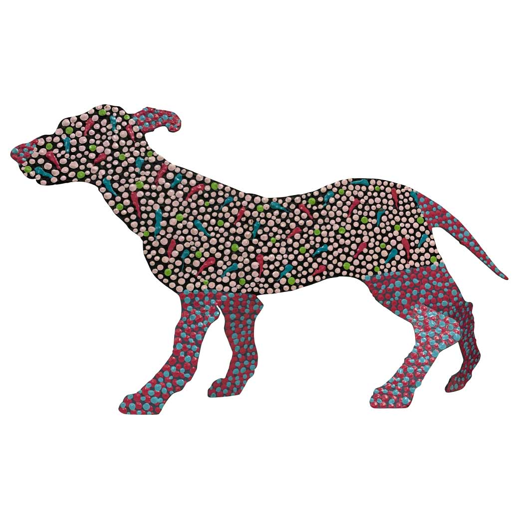 Medium Aboriginal Art Metal Dog Sculpture