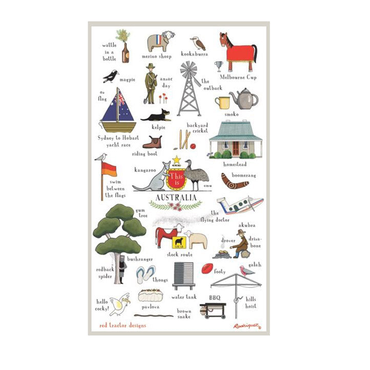 Australian Citizenship Gifts - This is Australia Linen Tea Towel by Red Tractor