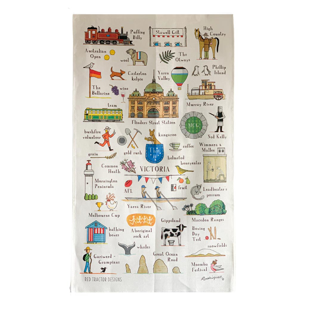 "The ""This is Victoria"" tea towel features illustrations of many famous Victorian icons - the Melbourne Cup, volunteer fire fighter, Phillip Island Penguin, Brighton bathing huts"