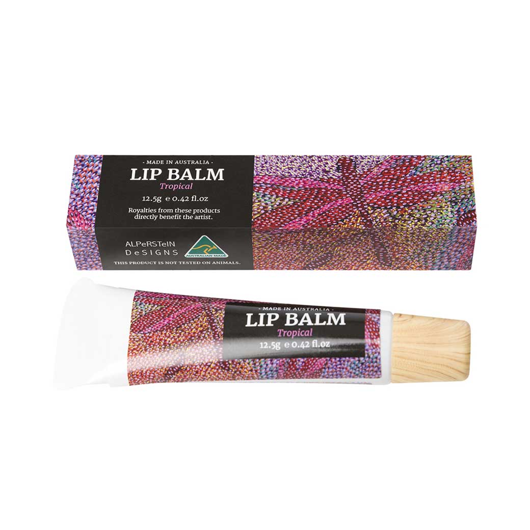 Tropical Flavour Australian Made Lip Balm Unique Skincare Gifts with Authentic Aboriginal Designs