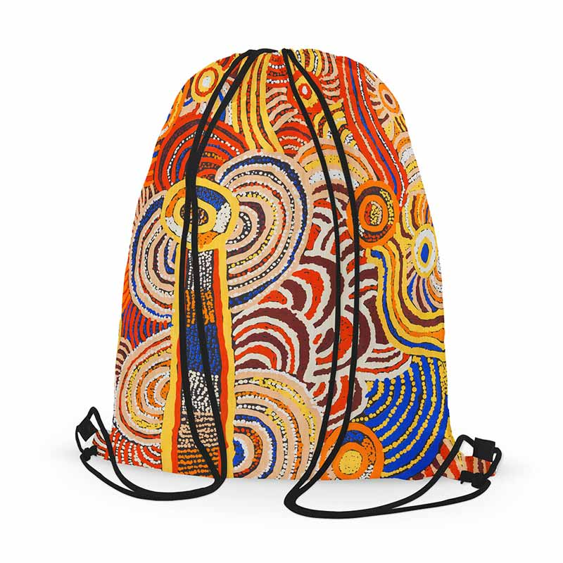 Aboriginal Drawstring Bag, Australia gifts for him, gifts for her, gifts for kids, unique gift ideas & presents