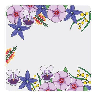 Australian Flowers Plastic Set of 4 Coasters