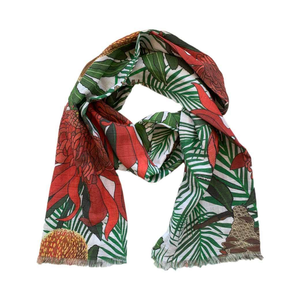 Waratah Scarf Unique Australian Christmas Gifts for Women