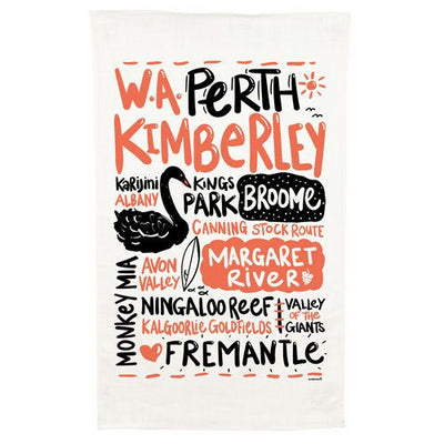 Australian Made Gifts & Souvenirs with the Western Australia Cotton Tea Towel -by Alperstein Designs. For the best Australian online shopping for a Tea Towels - 1