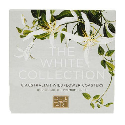 White Collection Wildflowers Drink Coasters