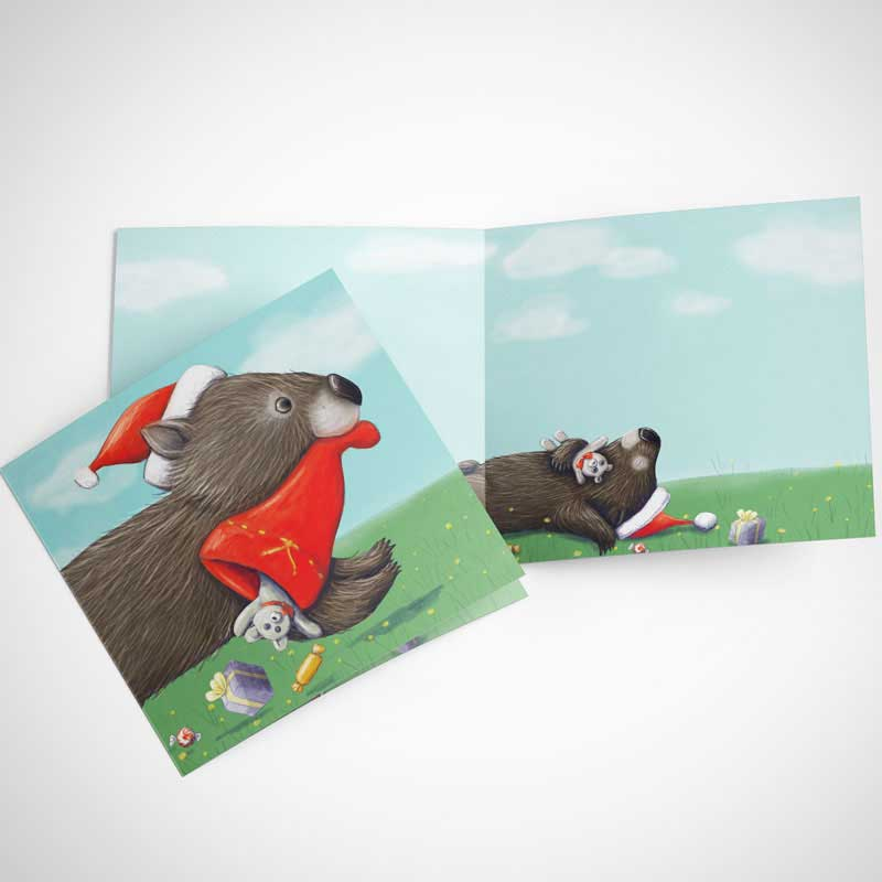 Australian Christmas Themed Card - Wombat Stocking