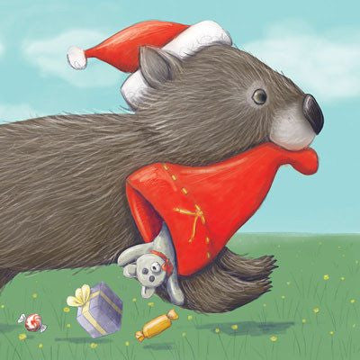 Australian Made Gifts & Souvenirs with the Wombat Christmas Treasure Card -by La La Land. For the best Australian online shopping for a Greeting Cards