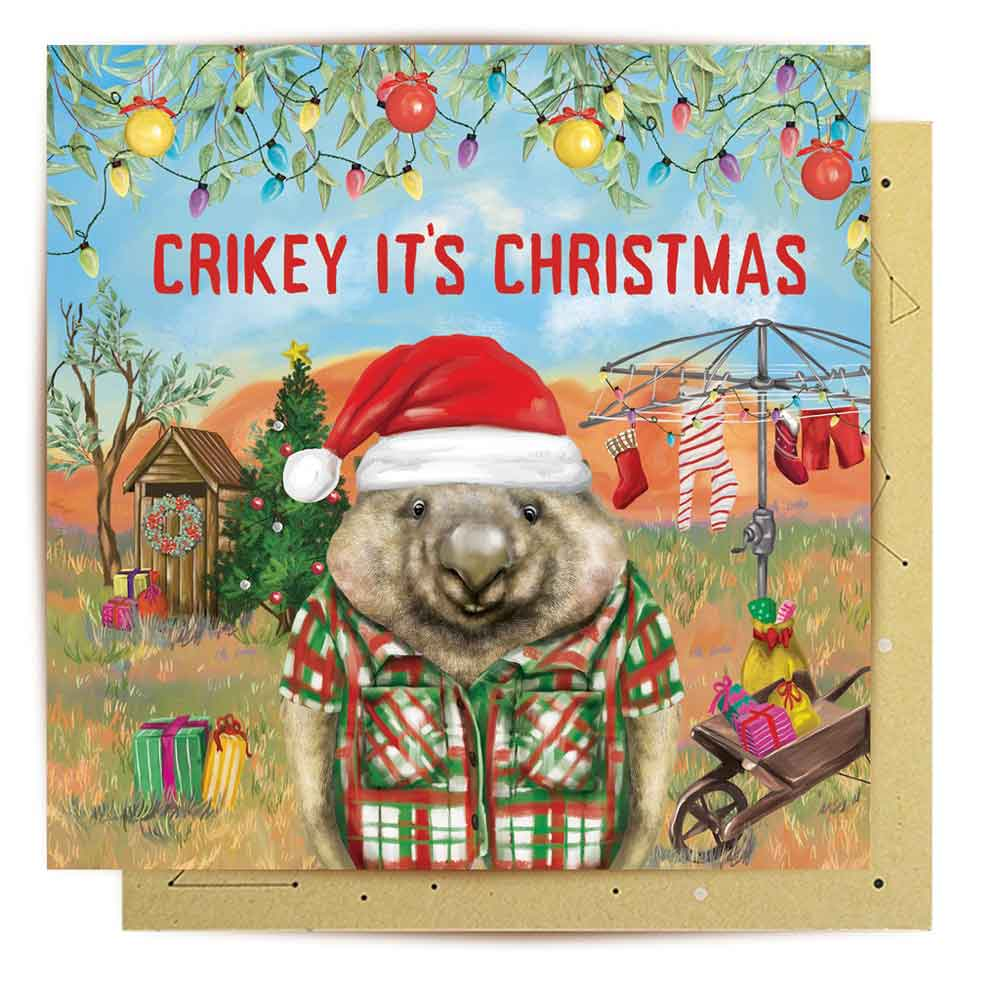 Crikey Its Christmas Wombat Card Australian Made