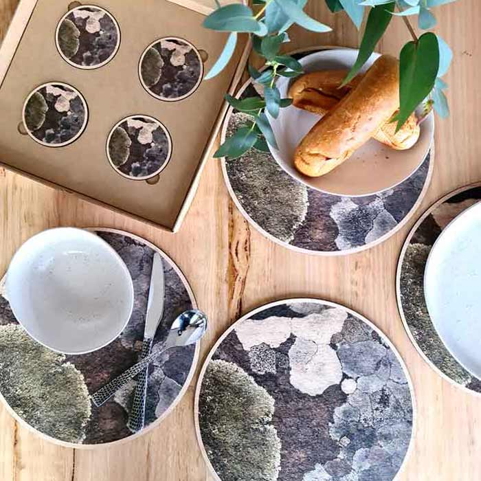 Australian Wooden Gifts Placemats and Coasters Lichen Design