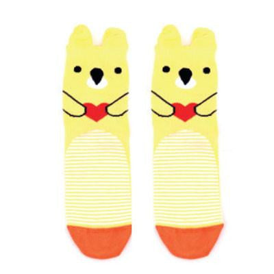 Ladies Yellow Bear Socks