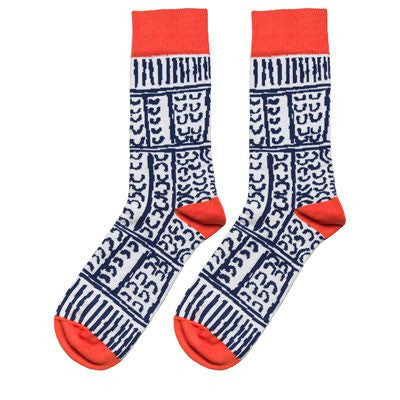Australian Made Gifts & Souvenirs with the Navy Aboriginal Artwork Socks -by Alperstein Designs. For the best Australian online shopping for a Socks - 1