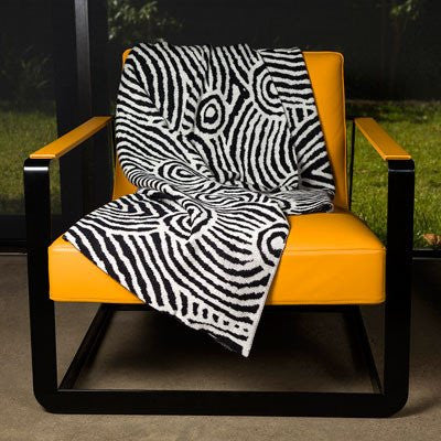 Australian Made Gifts & Souvenirs with the Aboriginal Art Merino Wool Throw -by Alperstein Designs. For the best Australian online shopping for a Throws - 1