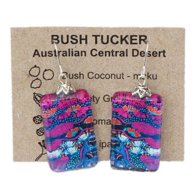 Australian Made Gifts & Souvenirs with the Bush Tucker Rectangle Earrings -by Bits of Australia. For the best Australian online shopping for a Jewellery