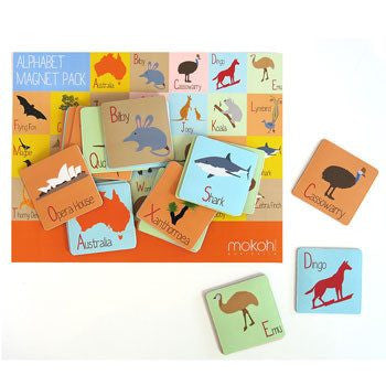 Australian Made Gifts & Souvenirs with the Alphabet Magnet Pack -by Mokoh Design. For the best Australian online shopping for a Accessories