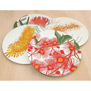 Australian Made Gifts & Souvenirs with the Bloom Coaster Pack -by Mokoh Design. For the best Australian online shopping for a Accessories