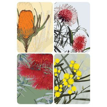 Australian Made Gifts & Souvenirs with the Australian Native Flowers Magnet Pack Card -by Mokoh Design. For the best Australian online shopping for a Accessories