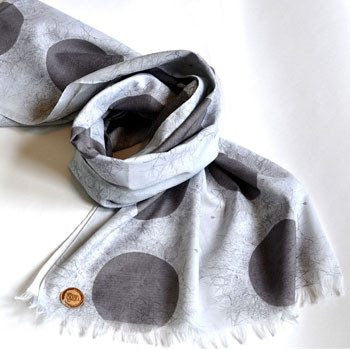 Voile Grey Spots & Moss Scarf